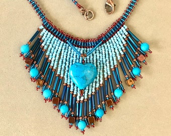 Turquoise Blue Heart Seed Bead Necklace