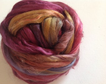 Hand Dyed Mulberry silk roving 1.4oz Ready to ship