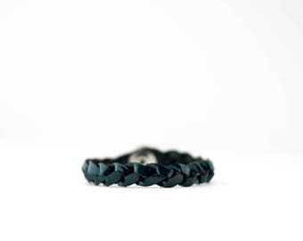 Braided Leather Bracelet / Teal Quartz
