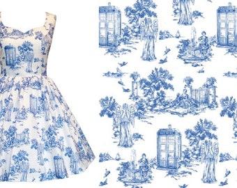 Doctor Who Inspired Weeping Angel Toile de Jouy Dress - Please Read -Handmade To Order - Fabric designed by Debi Birkin