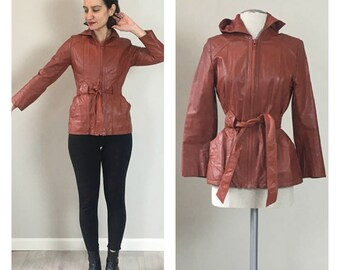 70s Brick leather Hoodie trench coat  Small