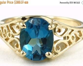London Blue Topaz, 14KY Gold Ring, R005