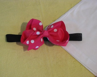 hair headbands accessories elastic girl removable bright pink white dot bow clip
