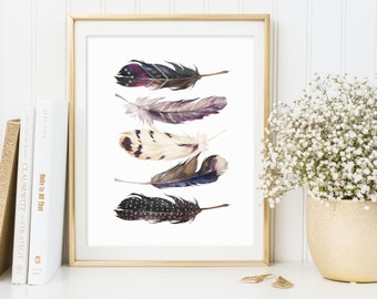 Feathers Wall Art, Feathers Printable, Feathers Print, Feathers Artwork, Tribal Wall Art, Tribal Print, Tribal Printable, Tribal Wall Decor