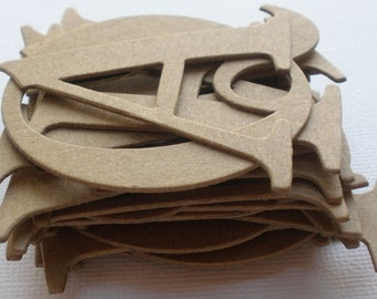 "2"" FANCY CHiPBOARD LETTERS- 48 Piece Uppercase Alphabet Letters Die Cuts"