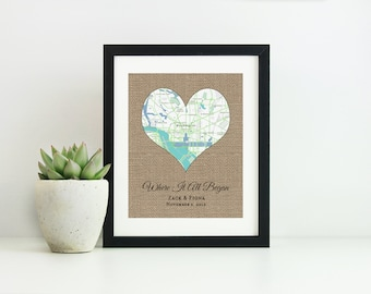 Anniversary Gifts for Men- Where It All Began Map- Unique Christmas Gifts For Couples-Personalized Wedding Gift for Couples-Gift for Husband