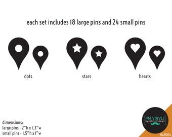 Vinyl Wall Decal Map Pins, Set of 42 Pins - MAP004