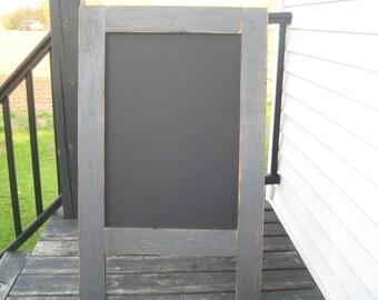 Ready to ship Rustic sandwich chalkboard dark gray distressed sidewalk chalkboard  Weathered A frame, easel, outdoor chalkboard