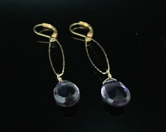 Amethyst Earrings // Purple Amethyst Earrings // Amethyst Gold Earrings // Teardrop Amethyst // Gold fill // Long Earrings Earrings