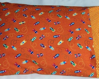 Rocket ships pillowcase standard, space themed