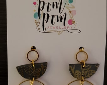 Polymer clay handpainted grey and gold dangles statement earrings