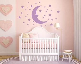Stars Moon kids Baby Room Nursery Vinyl Wall Sticker Decal Mural