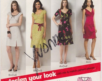 FF New Look 6750 Snazzy Dress Styles Vintage Sewing Pattern, Size 8-18, Bust 31 1/2 32 1/2 34 36 38 40 UNCUT Factory Folded