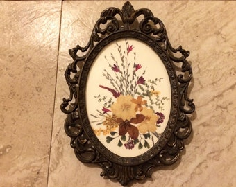 Dried Flowers in Vintage Frame - Made in Italy