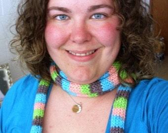 Wool Skinny Scarf - Handdyed Wool Skinny Scarf - Knitted Wool Skinny Scarf - Striped Skinny Scarf - Pink Scarf - Purple Scarf - Green Scarf