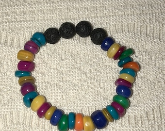Essential Oil Diffuser Bracelet Candy Multi Color Beads and Lava Stone Beads Great for Kids and Adults