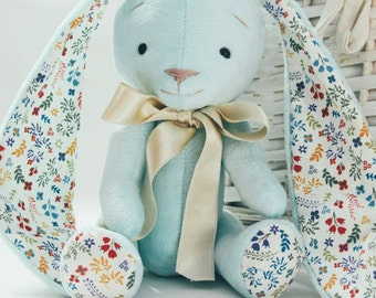 Floral mint bunny rabbit, baby gift