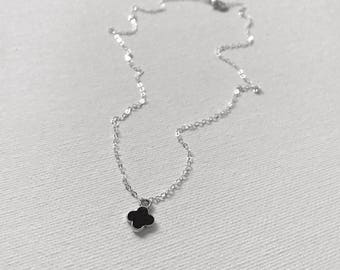 Black Quatrefoil Necklace