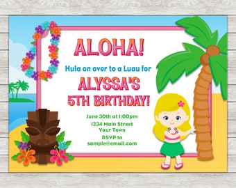 Hula Girl Birthday Invitation, Luau Birthday Invitation - Digital File (Printing Services Available)