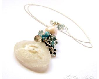 Solar Quartz Necklace, Sapphire, Apatite, Citrine, Moss Aquamarine, Pearl - Solange