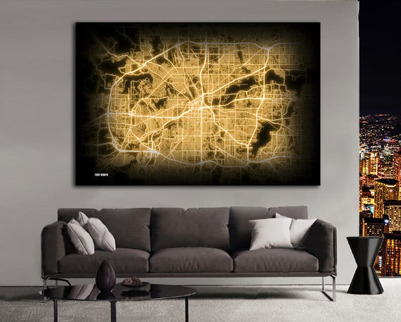 Fort Worth Texas Night Lights Map Large Horizontal Wall Art