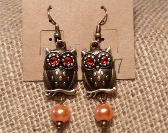 Fall Antiqued Brass Owl Dangle Earrings with Light Orange Pearls