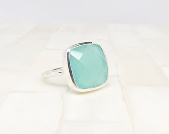 Silver Chalcedony Statement Ring  - Gemstone Ring - Chalcedony Ring