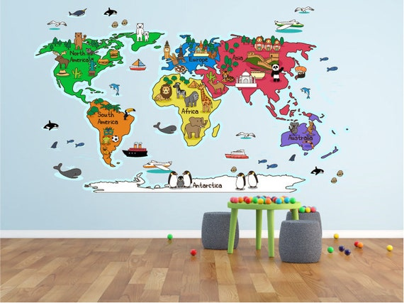 World map wall decal cartoon world map decal educational gumiabroncs