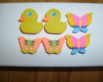 vintage erasers 1 ORANGE  BUTTERFLY