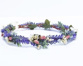 Lavender & Rose Flower Crown, Lavender Bridal Headpiece, Lavender Wedding Crown, Flower Girl Flower Crown, Floral Headpiece, Blush Pink, Fae
