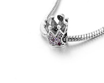 Sterling Silver Crown Charm - Silver Princess Charm - Princess Bead - Queen Charm - Pink CZ Crown Charm - Fits All Charm Bracelets