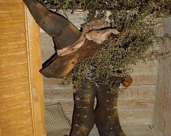 Primitive PATTERN Witch Hat and BOOTS HaLLoWeEn folk art