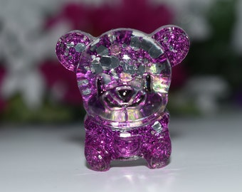 Orgone Energy Purple Bear Mini 1 pc -Quartz Crystal, Pyrite, Blue Kyanite