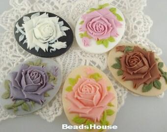 10 Pcs Pretty Rose Cabochon Pendant Cameo 30 x 40 mm,Mix-Colour