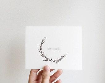 Minimal, Minimalist Half Wreath Card/ Holiday Cards / Card Set , CUSTOM Customizable Message
