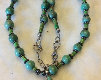 Vintage Barse genuine turquoise and 925 sterling silver beaded necklace.