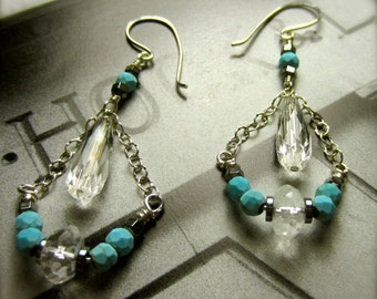 Turquoise Drop Earrings with Crystal and Pyrite | Dangle Handmade Earrings | Sterling Silver Dangle Earrings | Gift for Her