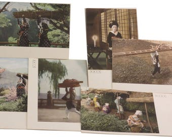 Lot of 6 Occupied Japan Daily Life Type Color Postcards - 1940s