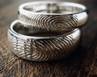 Sterling Silver Finger Print Wedding Rings with Glossy Finish Sizes 7 & 6