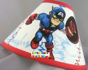 Captain America Fabric Lamp Shade   You Choose The TRIM COLOR! (10 Sizes To
