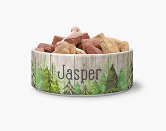 Ceramic Pet Bowl - Wooded Forest Bowl Personalized Dog Bowl - Ceramic Pet Bowl - Personalized Bowl - Monogrammed Bowl - Monogrammed Dog Bowl