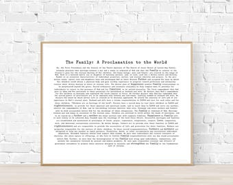 Family Proclamation Printable - LDS Vintage Print - Modern A Family Proclamation to the World - Digital Download - Typewriter - Horizontal