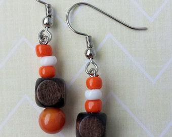 Wood cube earrings with orange and white beads