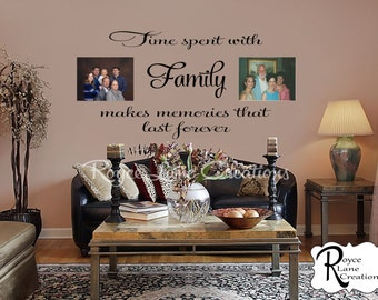 Time Spent with Family 3 Photo Wall Display-Photo Wall Collage- Photo Wall Art-Photo Wall Decal - Photo Display Decal