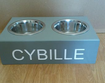 wooden dog/cat PERSONALISED FEEDING STATIONS elevated stand raised double stainless steel bowls included 16cm or 21cm bowls