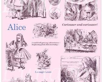 CHOOSE YOUR COLOR, Alice in Wonderland, tinted digital collage sheet, vintage illustrations fantasy altered art, Victorian ephemera Download