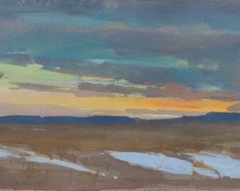 Prairie Sunset study - gouache on paper