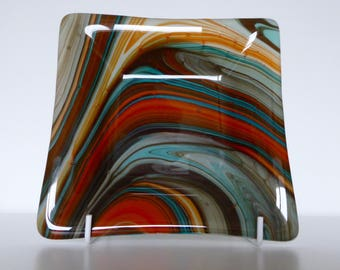 Fused glass dish, orange-turquoise swirls, unique gift from LuzGlass, coffee table attraction, 15 cm square
