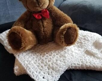 White christening blanket for newborn
