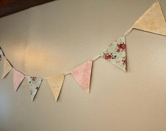 Shabby chic, vintage fabric nursery bunting banner